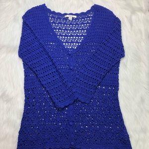 Liz Claiborne NY hand crochet purple cardigan Sz M